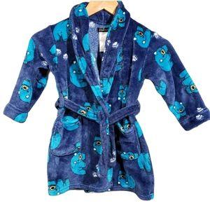 Cuddl Duds blue bear print super soft plush robe